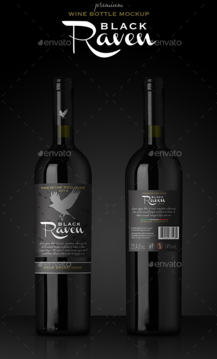 Premium Red Wine Bottle Mockup
