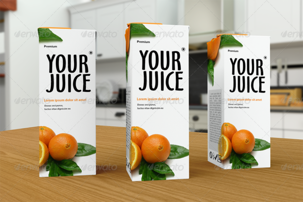 Realistic Juice Packaging Mockup Template