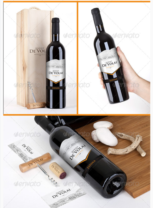Realistic PSD Wine bottle Mockup