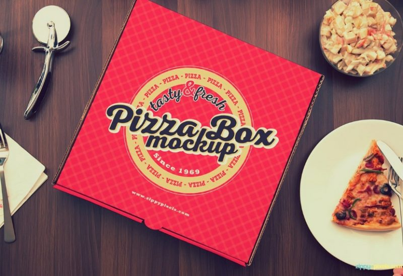 Realistic Pizza Box Mockup PSD