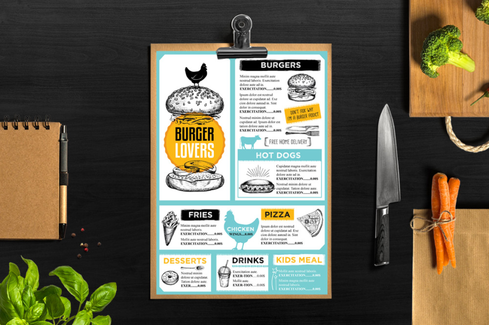 Restaurant Menu Mockup Template - Graphic Cloud