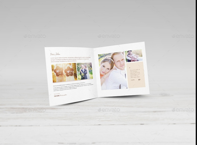 Square Bi Fold Greeting Card Mockup