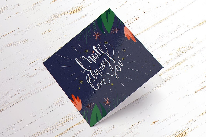 Square PSD Greeting Card Mockup