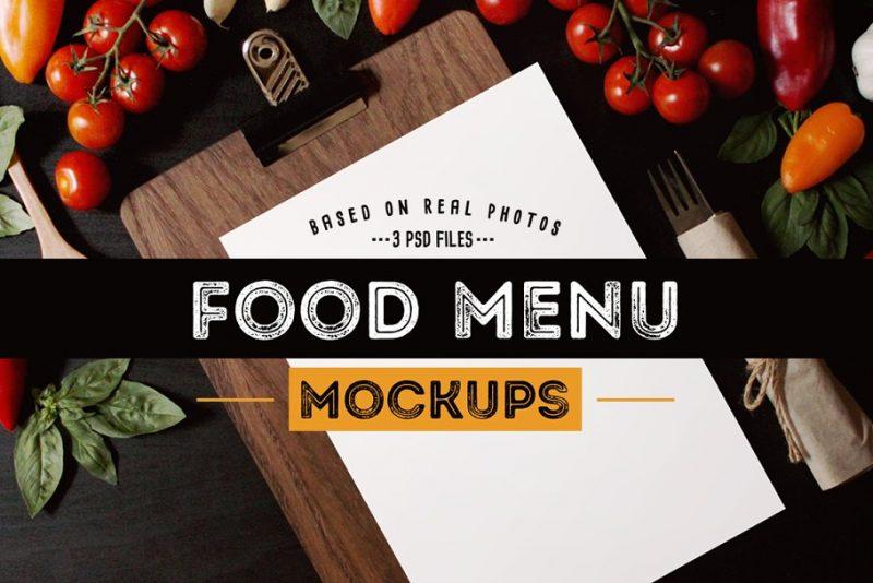 Vintage Food Menu Mockup PSD