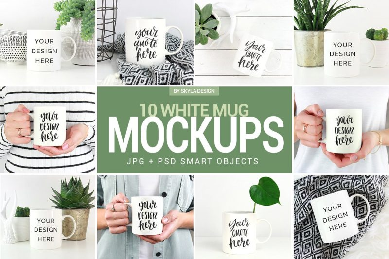 White Coffee Mug Mockup PSD
