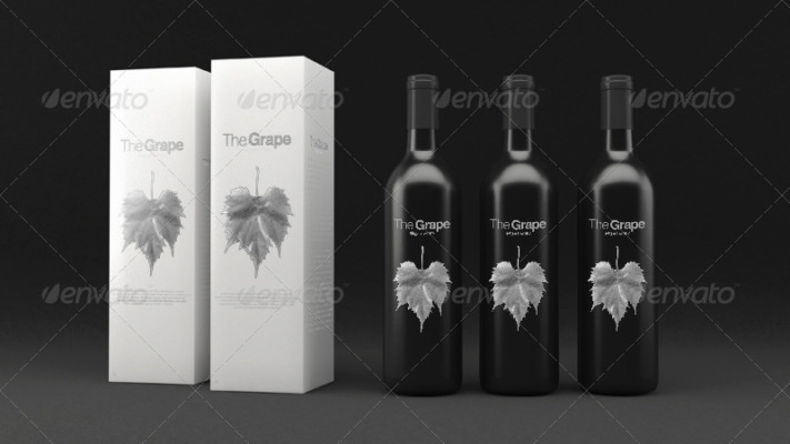 Wine Bottle Packaging Mockup Template