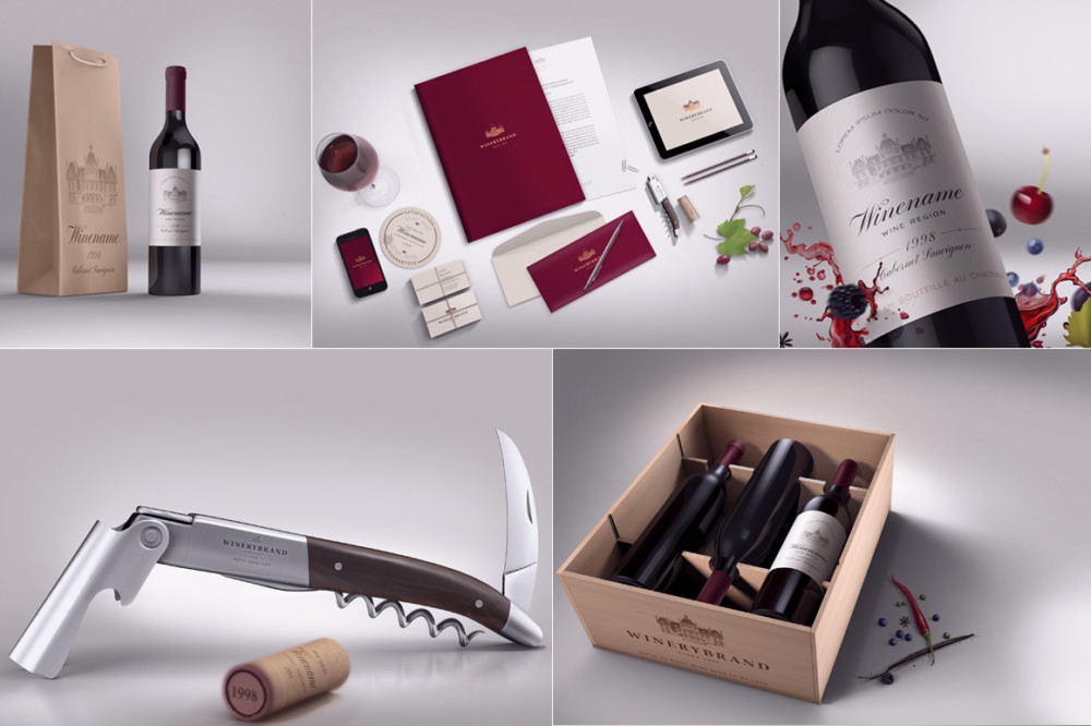 Wine Branding Mockup Bundle