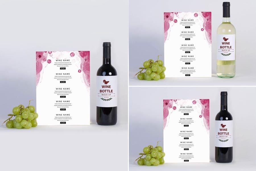 Wine Menu Mockup PSD