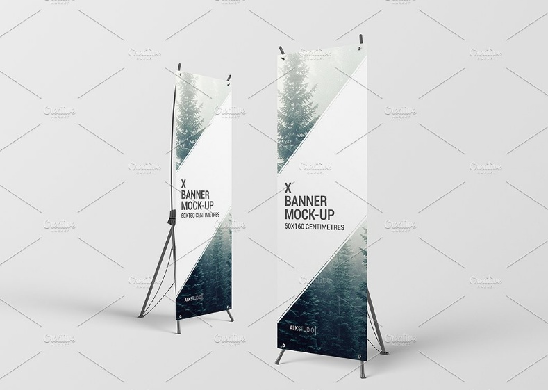 X Stand Roll Up Banner Mockup