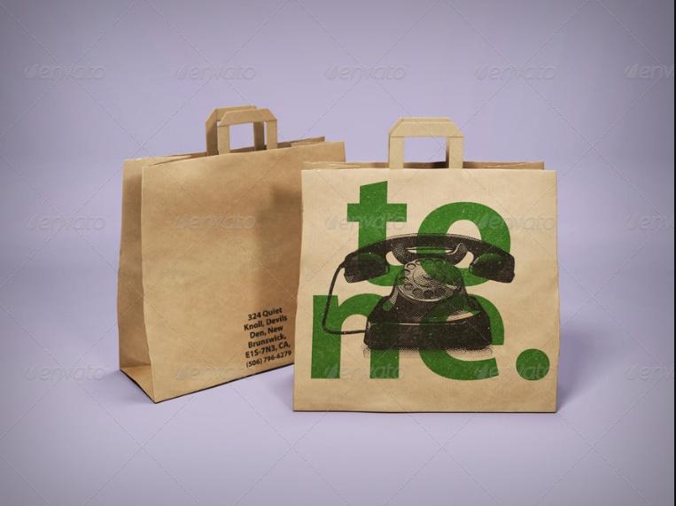3D Paper Bag Mockup PSD