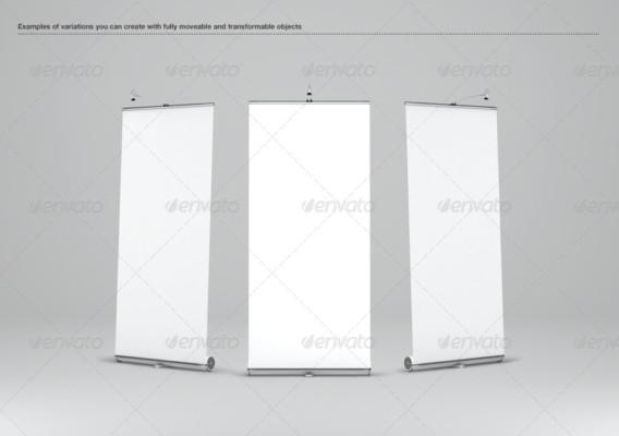 3D Realistic Banner Mockup PSD