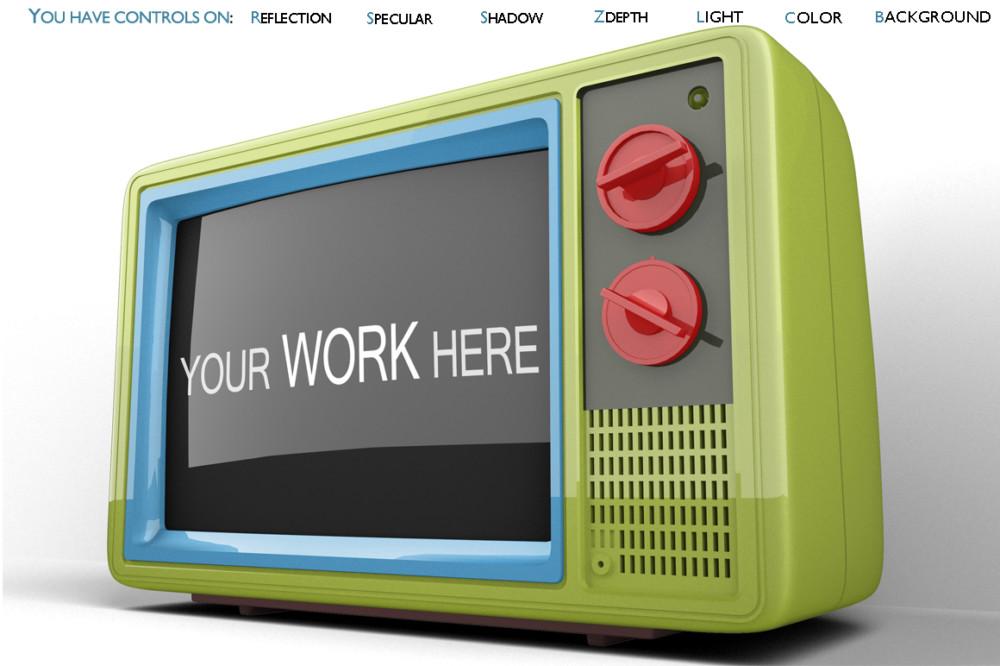 3D Render TV Mockup Template
