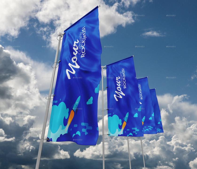 4 Flag PSD Mockups