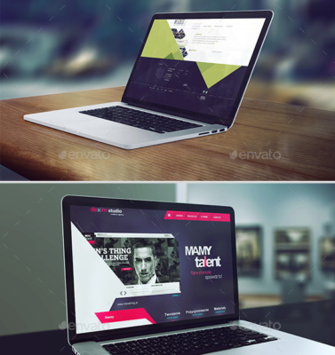 4 Laptop Screen Mockup Template