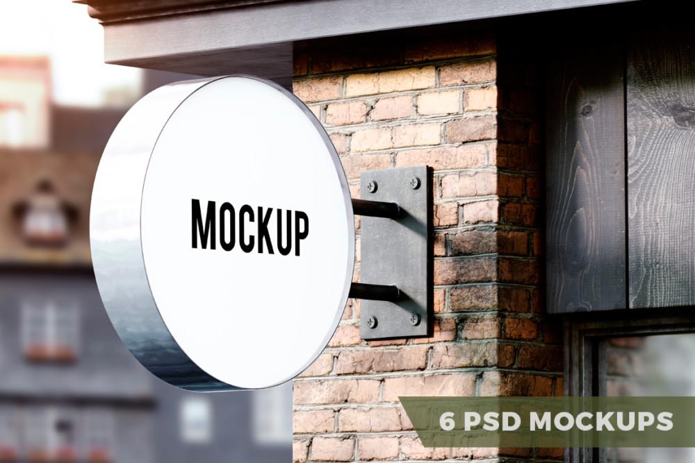 6 PSD Signboard Mockup Templates