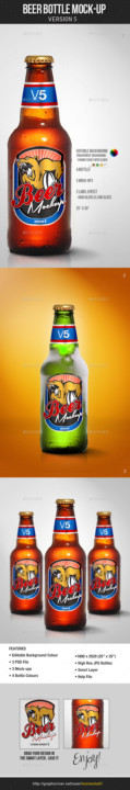 Beer bottle mockup creative and free mock-up