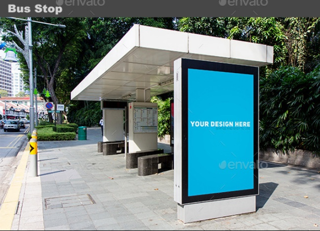 Bus Stop Mockup PSD