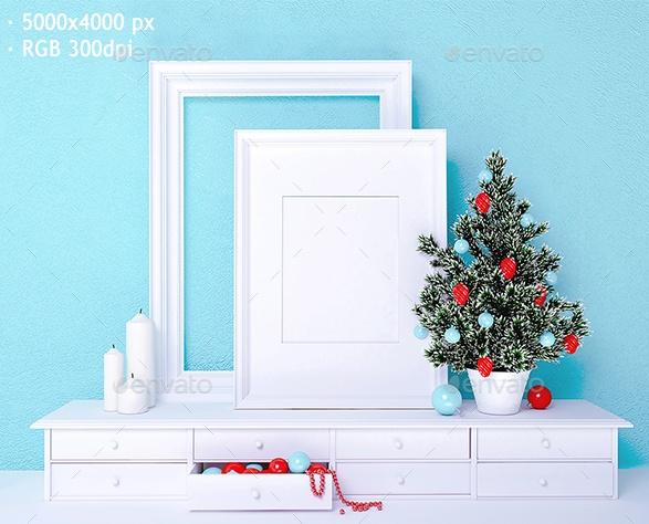 Christmas Frame Mockup PSD