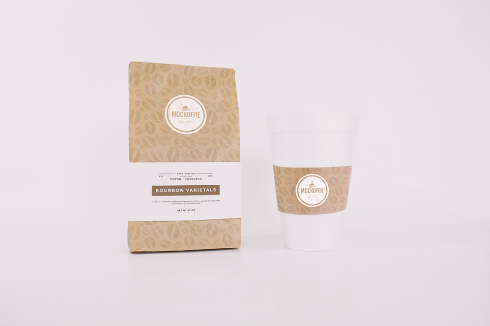 Coffee Bag and Cup Mockup