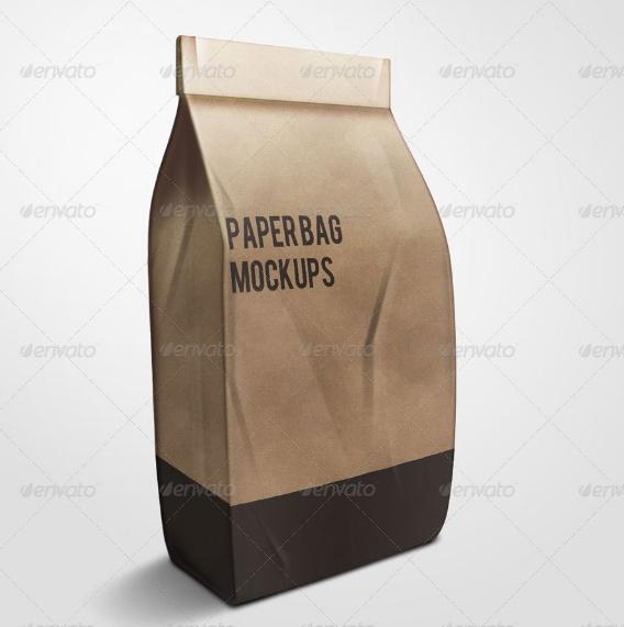 Coffee Paper Bag Mockup PSD