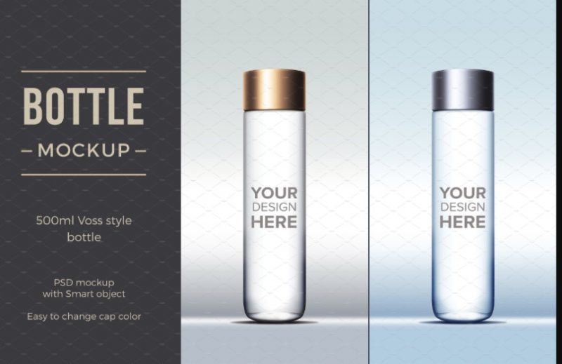 Cylindrical Water Bottle Mockup