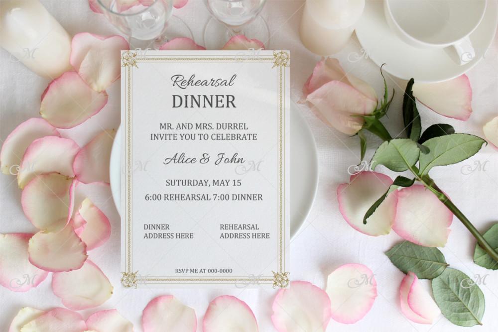 Wedding menu mockup with Rose and petals