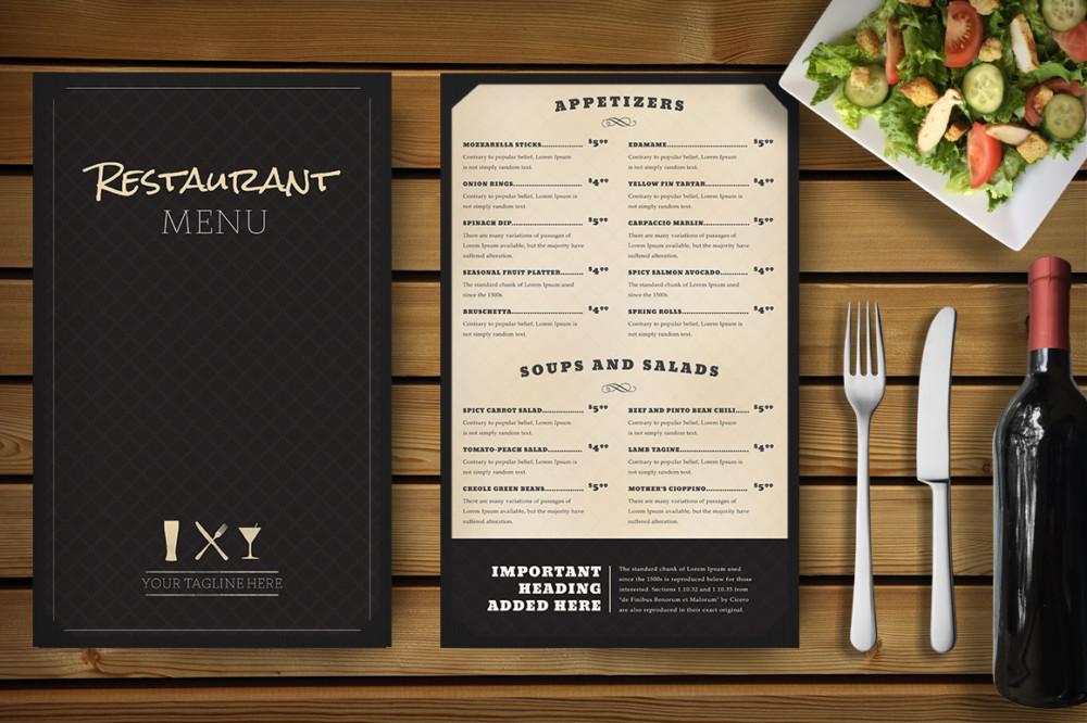 Elegant Restaurant Menu Mockup