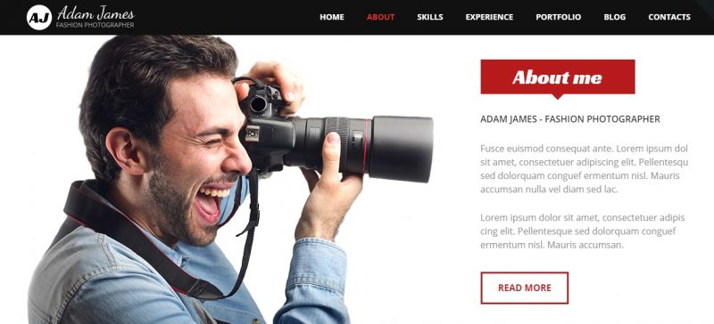 Fashion Photographer WordPress Theme