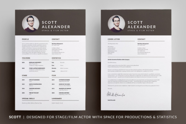 acting resume template psd ai indesign and word format