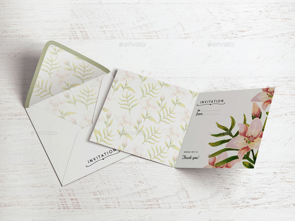 Floral Invitation Card Mockup
