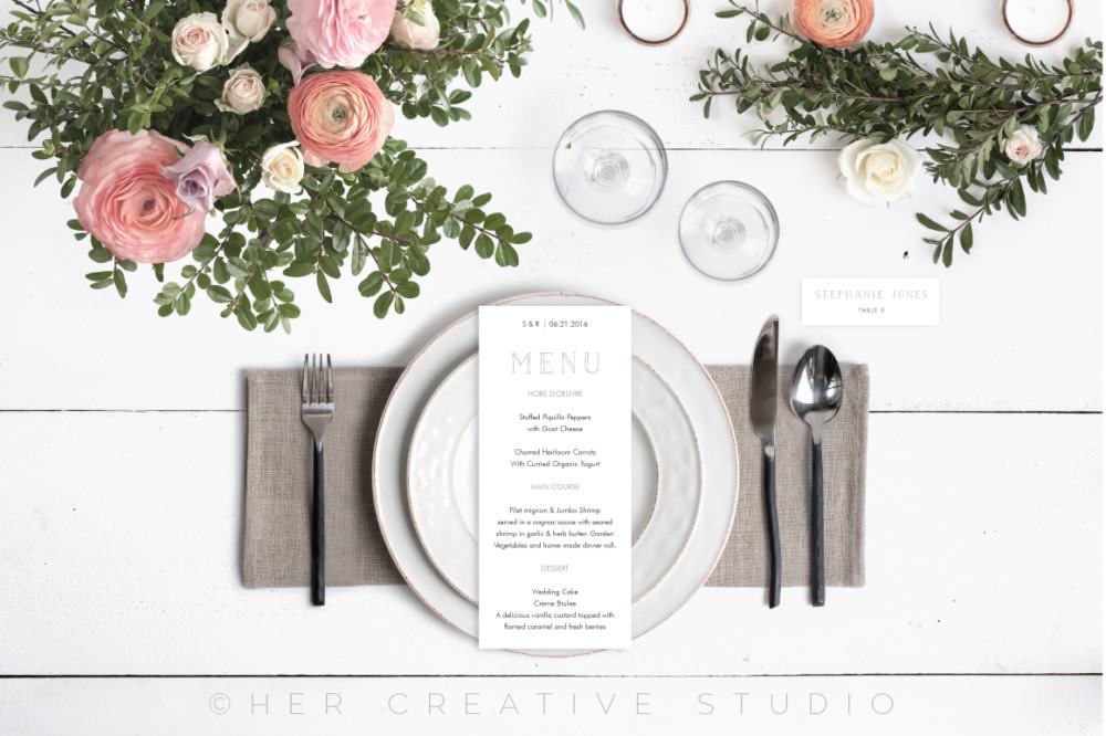 Floral Restaurant Menu Mockup PSD