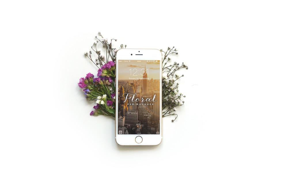 Floral i Phone PSD Mockup