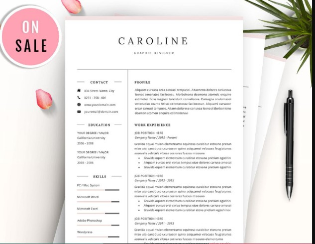 25  word resume template and cover letter template designs