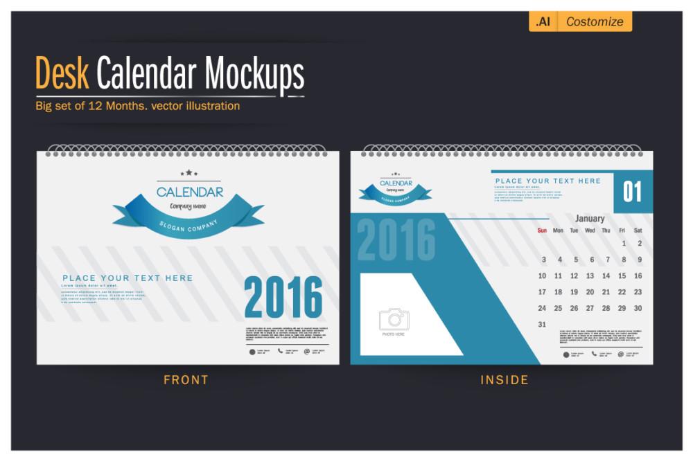 High Resolution Calendar Mockup PSD