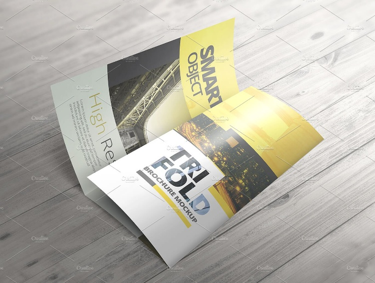 High Resolution Tri Fold Brochure Mockup