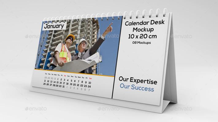 Landscape Desk Calendar Mockup
