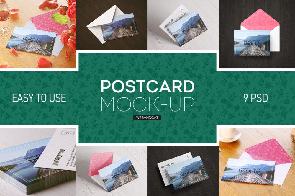 Layered Greeting Card Mockup PSD