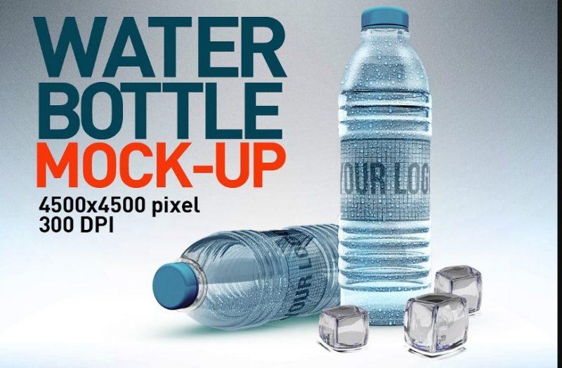 Layered Water Bottle Mockup