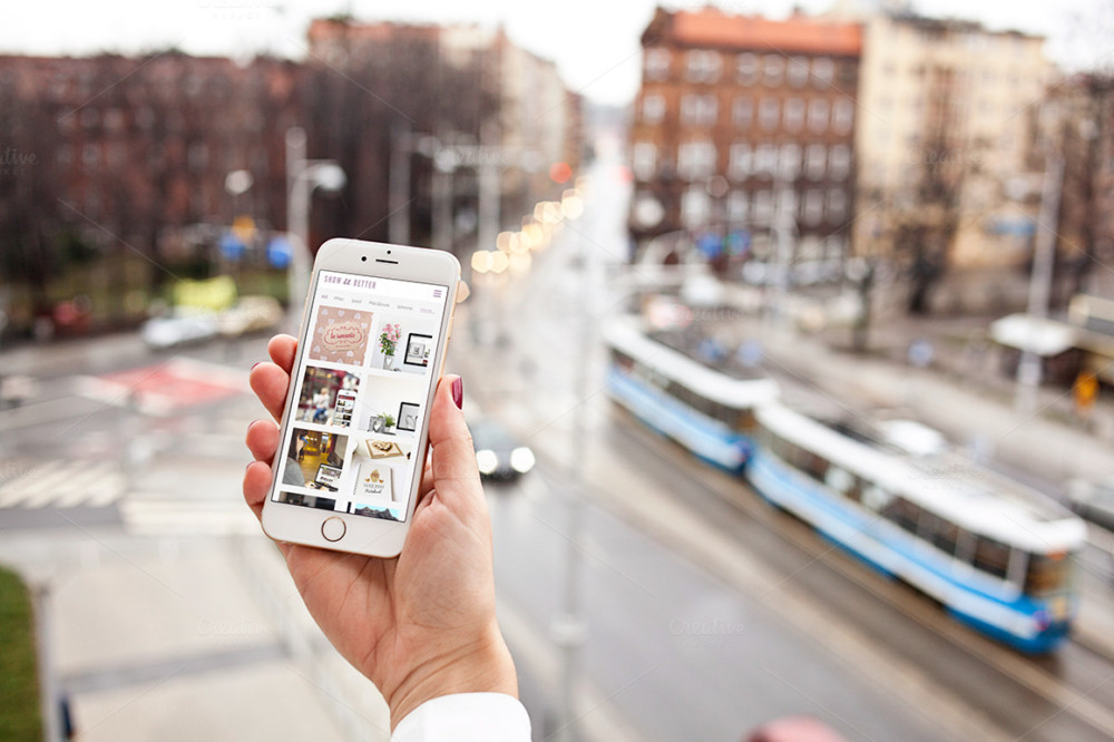Mobile Mockup PSD in City Background
