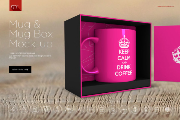 Mug and Mug Box PSD Mockup