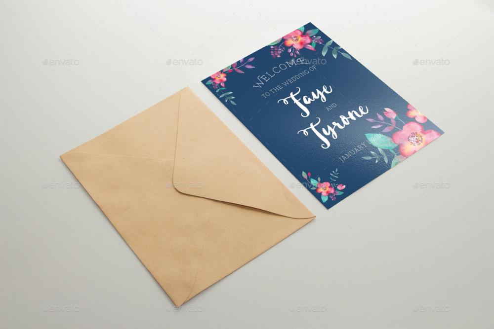 PSD Wedding Invitation Card Mockup