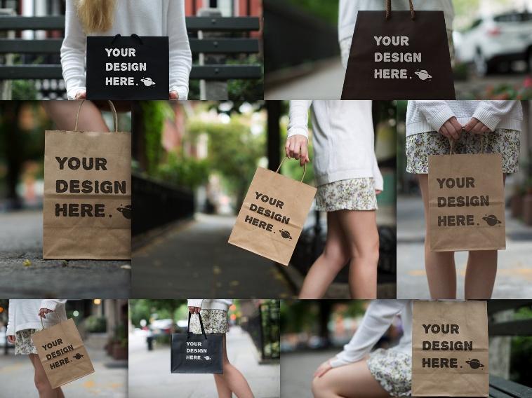 Paper Bags Mockup PSD