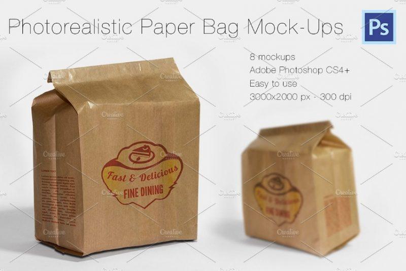 Photorealistic Paper Bag Mockup