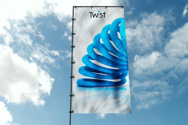 Realistic Flag Banner Mockup