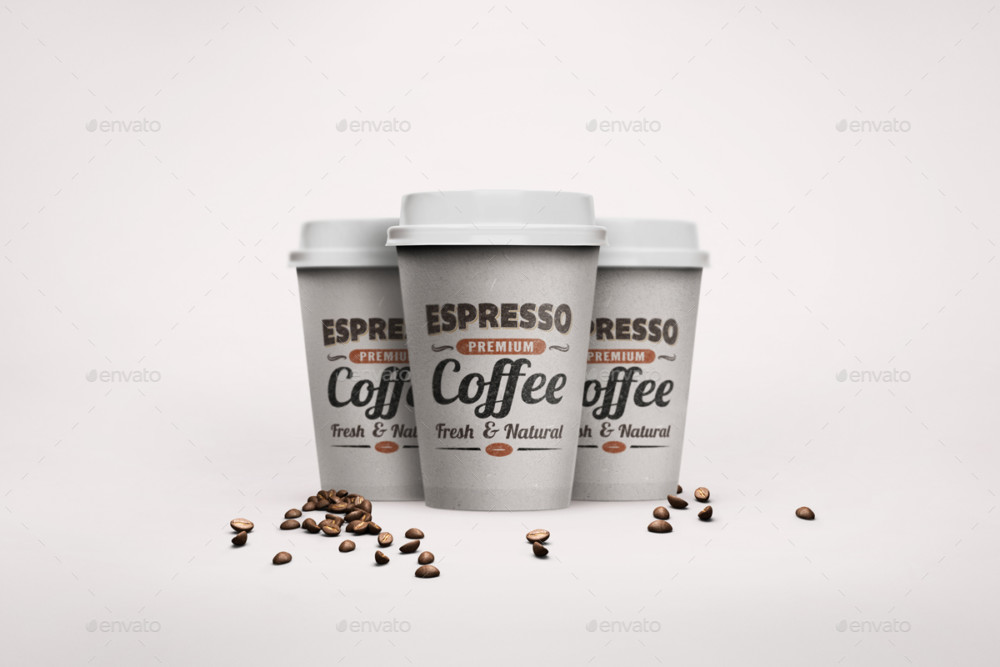 Realistic Paper Cup Mockup PSD