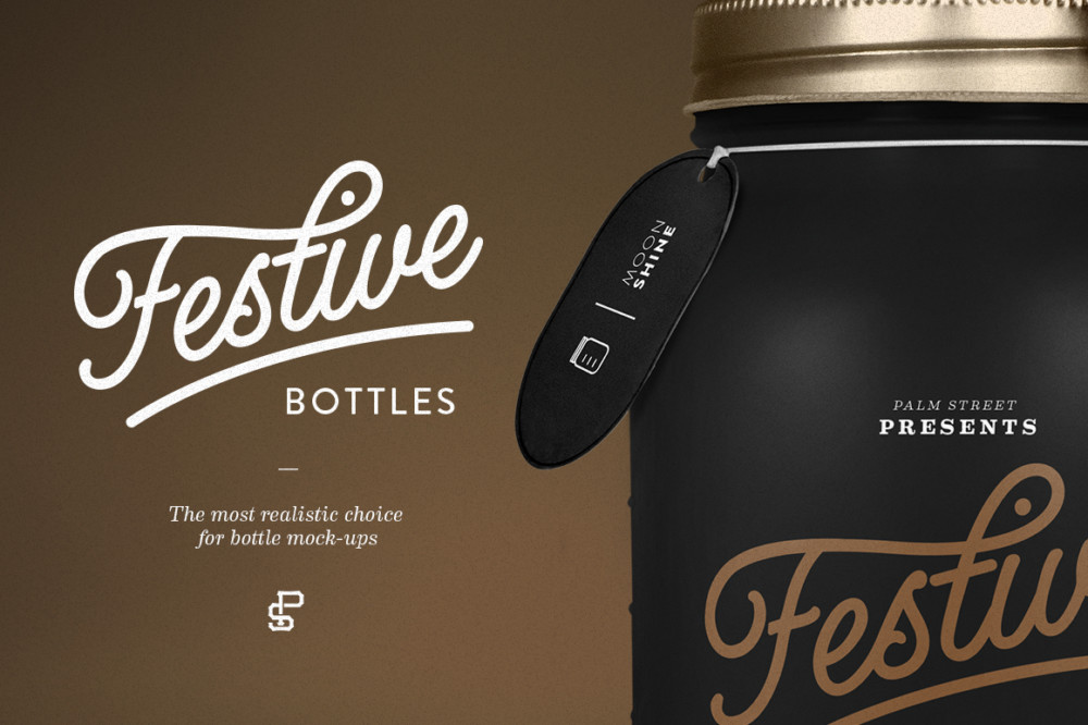 Realistic bottle Lable Mockup