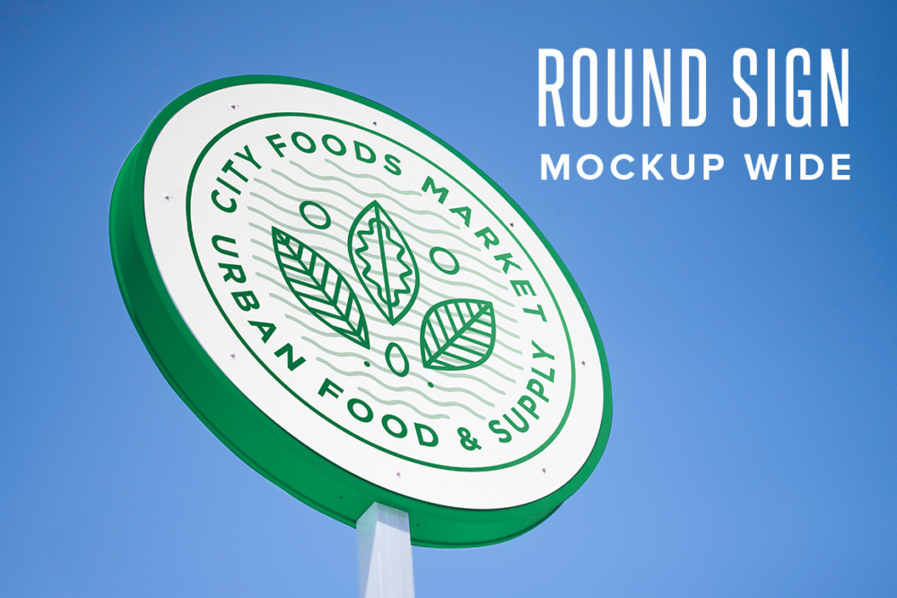 Round Sign Mockup PSD
