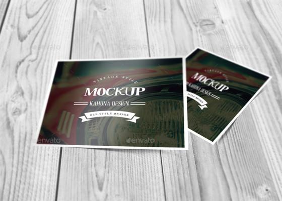 Square Post Card Mockup Template