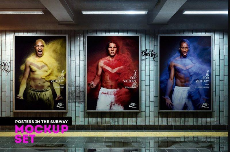 Subway Poster Mockup PSD