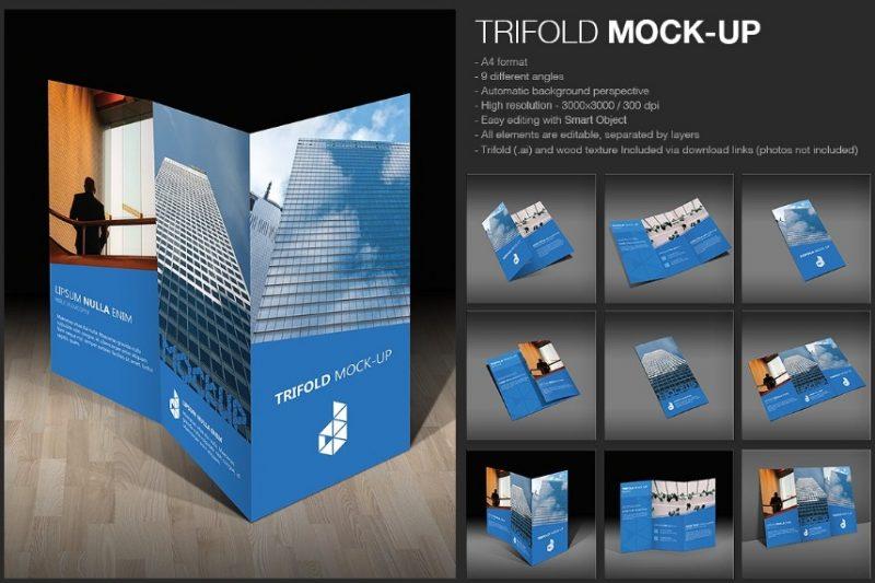 Tri Fold Corporate Brochure Mockup